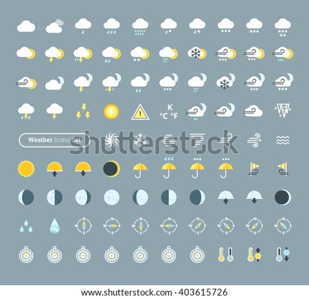 Huge pack of weather icons. Weather forecast design elements for mobile apps and widgets.  - stock vector