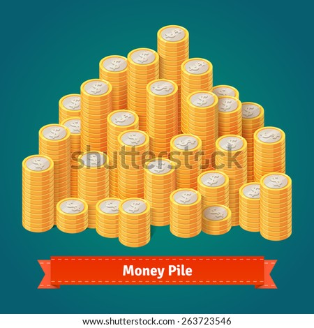 Huge pile of stacked gold coins. Flat style vector illustration.  - stock vector