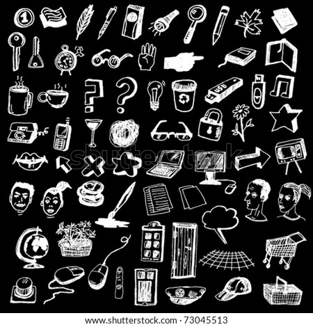 Huge Set of Cute Internet Icons Hand Drawn - stock vector