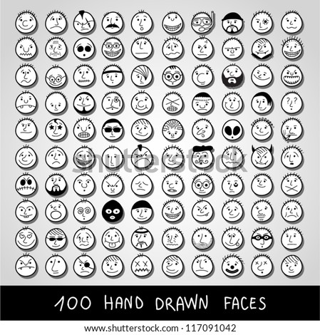 Huge set of hand-drawn funny cartoon faces. - stock vector