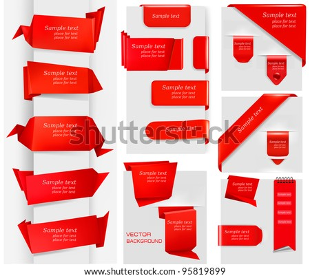 Huge set of red origami paper banners and stickers. Vector illustration. - stock vector