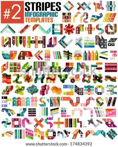 Huge set of stripe infographic templates #2 for business background | numbered banners | business lines | graphic website - stock vector