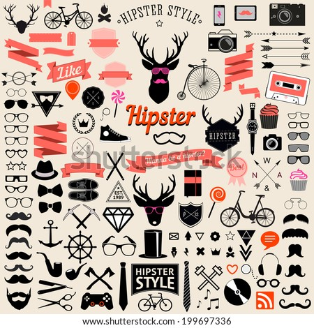 Huge set of vintage styled design hipster icons. Vector signs and symbols templates for your design.The largest set of bicycle, phone, gadgets, sunglasses, mustache, anchor, ribbons and other things. - stock vector