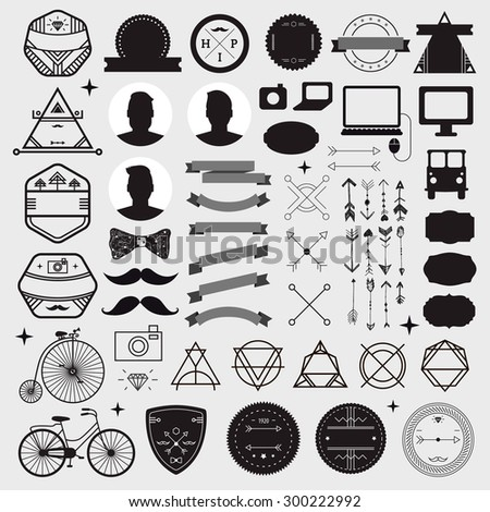 Huge set of vintage styled design hipster icons Vector signs and symbols templates for your design. Set of phone, gadgets, mustache, ribbons infographics element, badges, logos and other things. - stock vector