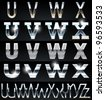 Huge Silver chrome and aluminium vector alphabet set. 4 types. Set # 6 - stock vector