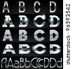 Huge Silver chrome and aluminium vector alphabet set. 4 types. Set # 1 - stock vector