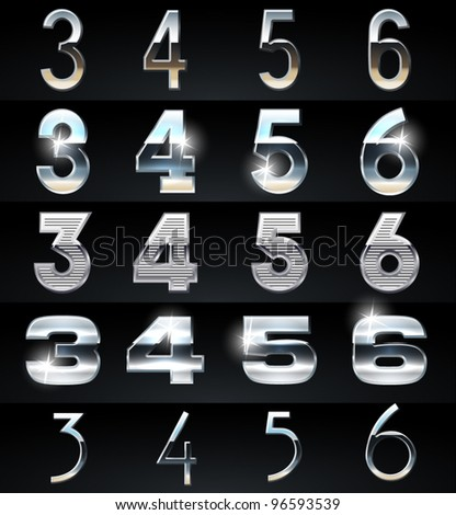 Huge Silver chrome and aluminium vector alphabet set. 4 types. Set # 8 - stock vector