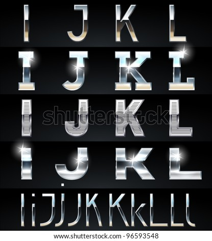 Huge Silver chrome and aluminium vector alphabet set. 4 types. Set # 3 - stock vector