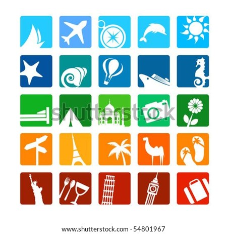 Huge tourism and vacation icons set - stock vector