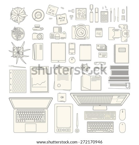 huge vector set of modern office stuff including houseplants and computers - stock vector