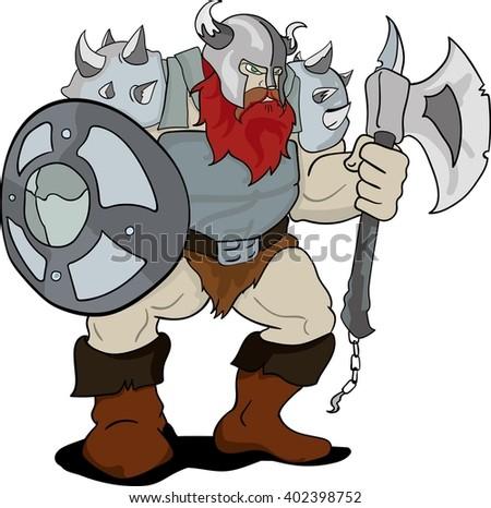 Huge viking cartoon - stock vector