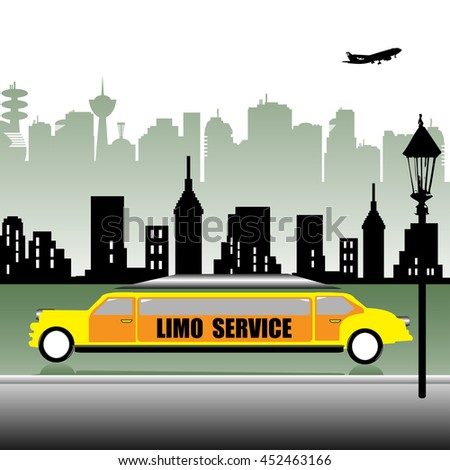 Huge yellow limo parked near the sidewalk. Limo service concept - stock vector