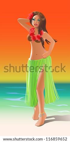 hula dancer - stock vector