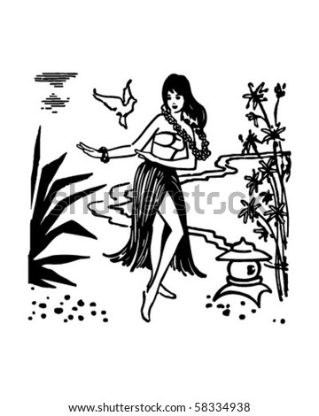 Hula Dancer - Hawaiian Gal - Retro Clip Art - stock vector