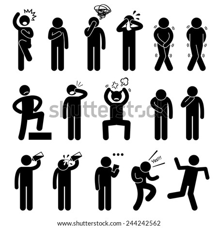 Human Action Poses Postures Stick Figure Pictogram Icons - stock vector