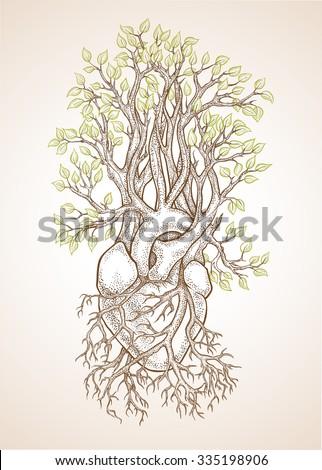 Human Anatomical Heart Veins Like Roots Stock Vector ... Ancient Symbols Of Love