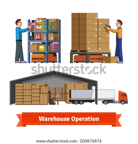 Human and robotic warehouse operations. Warehouse workers. Flat icon illustrations set. EPS 10 vector. - stock vector
