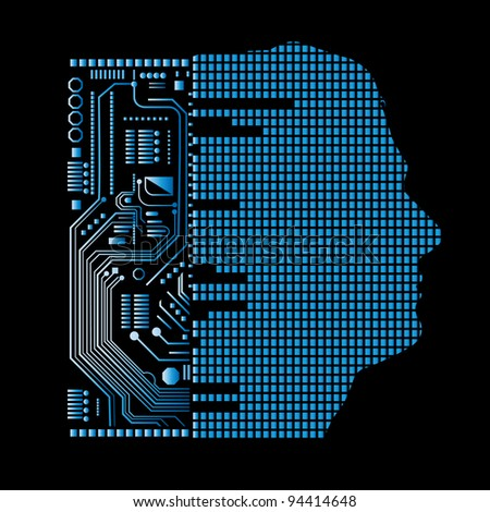 human and technology (layered) - stock vector