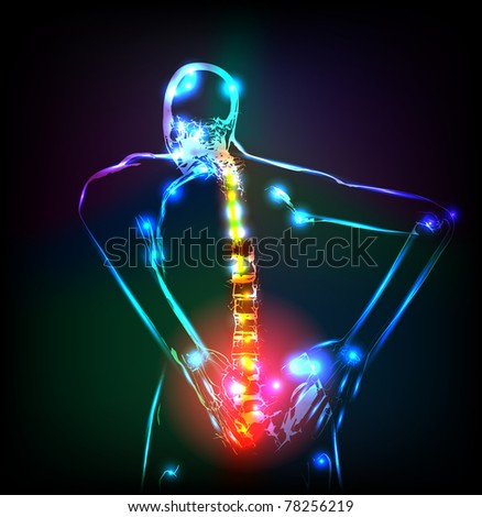 Human backbone in x-ray, back Pain, easy editable - stock vector