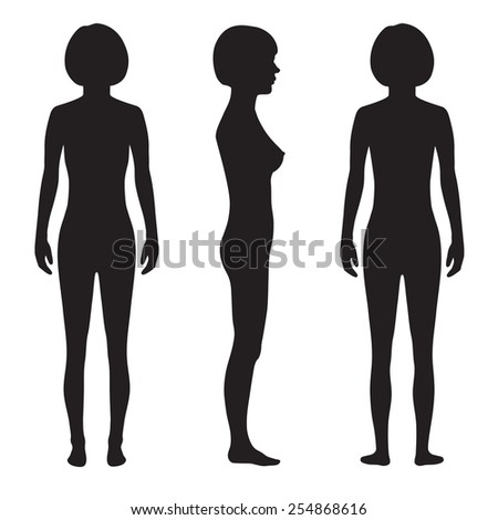 human body anatomy,front, back side, vector woman silhouette - stock vector