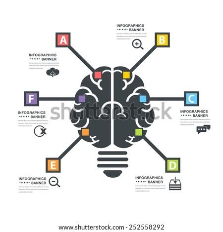 Human Brain Business Concept Health or Capacity Infographics Arrow Vector Elements  - stock vector