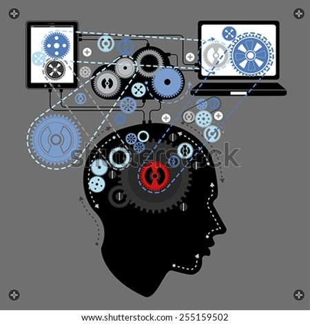 human brain communicating with technology, vector