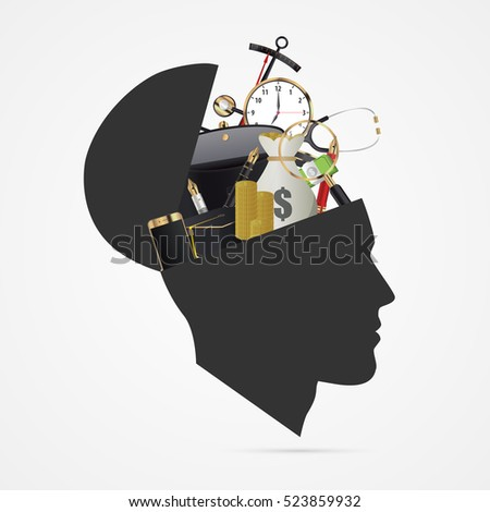 Human brain. Education concept. Vector illustration