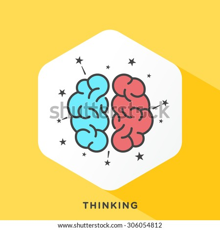 Human brain icon with dark grey outline and offset flat colors. Modern style minimalistic vector illustration for effective brainstorming session and stimulate thinking. - stock vector