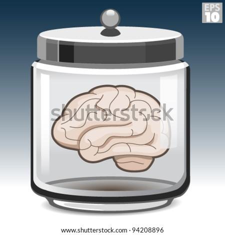 Human brain in a glass jar - stock vector