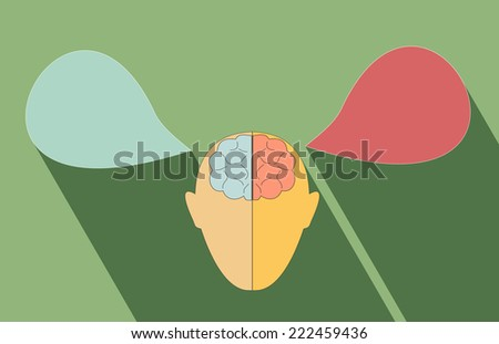 Human brain left and right functions - stock vector