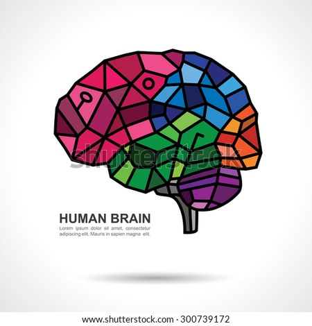 Human Brain Mosaic Art with text on gray gradient background.