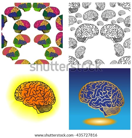 Human brain. Set of background pattern. Vector illustration - stock vector