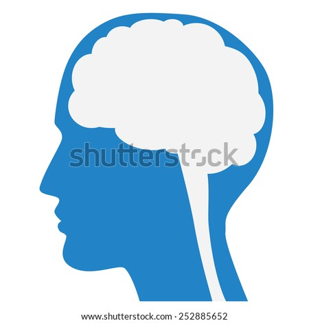 Human brain silhouette with blue face profile, white background, vector. - stock vector