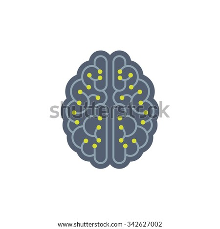 Human brain vector concept illustration. Human brain with electronic structure. Mind vector illustration. Intellect sign illustration.  - stock vector
