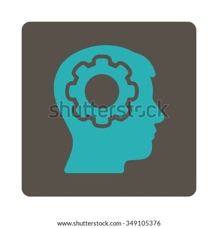 Human Brain vector icon. Style is flat rounded square button, cyan and grey colors, white background. - stock vector