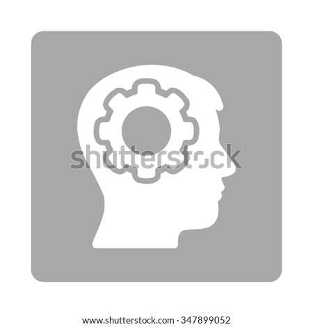 Human Brain vector icon. Style is flat rounded square button, white and silver colors, white background. - stock vector