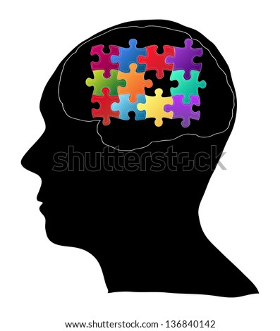 Human Brain with Jigsaw Puzzle for Think Idea Concept Vector Outline Sketched Up, Vector Illustration EPS 10. - stock vector