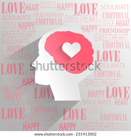 Human brain with love emotion thinking - stock vector