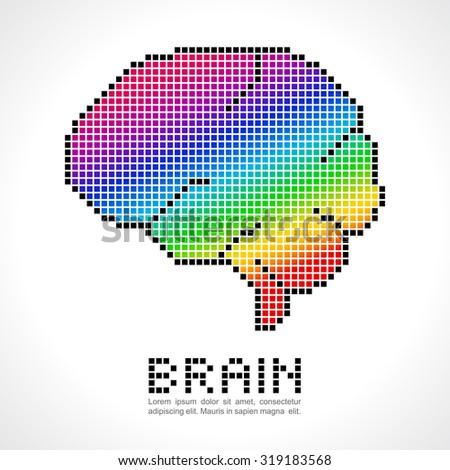 Human Brain With Rainbow Digital Pixel Concept. Abstract Digital Technology  Brain Background.