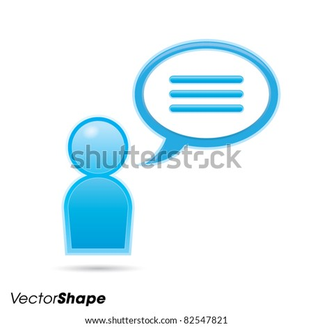 Human businessman figurine with communication bubble, web application icon, dialog concept, vector illustration