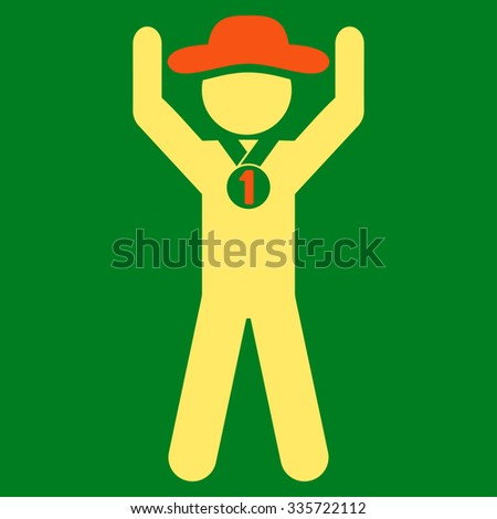 Human Champion vector icon. Style is bicolor flat symbol, orange and yellow colors, rounded angles, green background. - stock vector