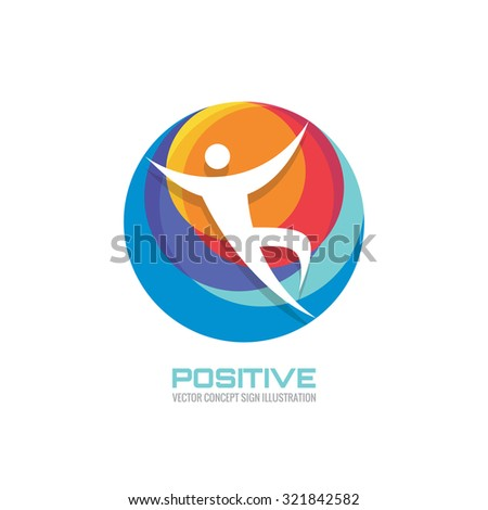 Human character in colored circle - creative logo template sign for sport club, health center, music festival etc. Vector illustration symbol. Design element. - stock vector