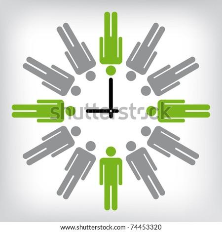 Human clock conceptual illustration - stock vector