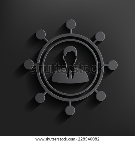 Human connection symbol on dark background,clean vector - stock vector