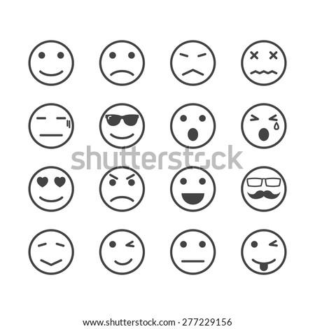 human emotion icons, mono vector symbols - stock vector