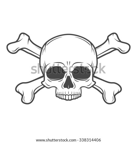 Human evil skull vector. Jolly Roger with crossbones logo template. death t-shirt design. Pirate insignia concept. Poison icon illustration - stock vector