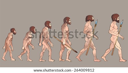 Human evolution. Historical illustrations. Isolated vector . - stock vector