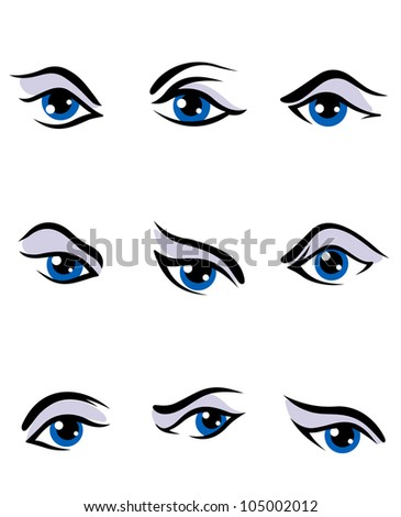 Human eyes set isolated on white background for vision concept design, such logo. Jpeg version also available in gallery - stock vector