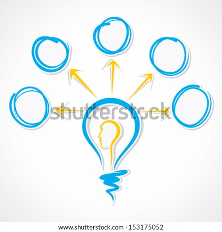 human face in sketch bulb with message bubble stock vector - stock vector