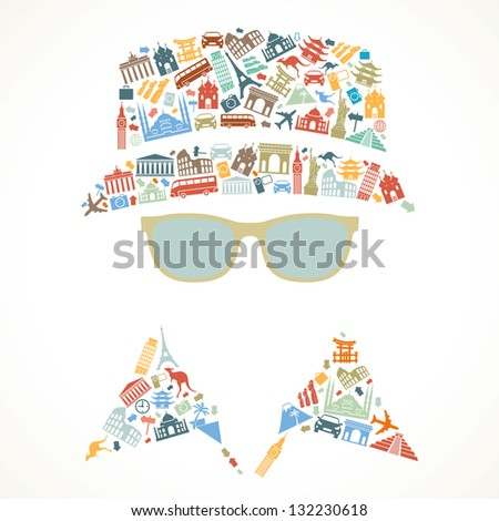 human face is made up of icons landmarks. travel concept. Vector illustration
